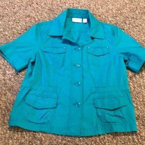 Women's CHICO'S short sleeve aqua blazer size 1